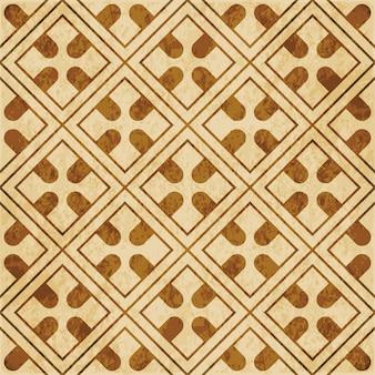 茶色の水彩テクスチャ、シームレスパターン、正方形のチェッククロスジオメトリフレーム