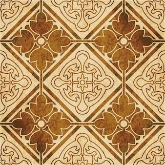 茶色の水彩画のテクスチャ、シームレスなパターン、正方形のチェッククロスラウンドフラワーフレーム