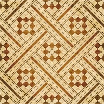 茶色の水彩テクスチャ、シームレスパターン、正方形のチェックジオメトリクロスモザイク
