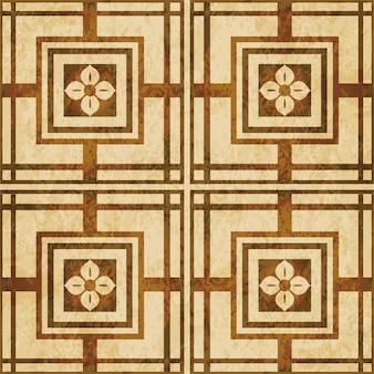 茶色の水彩テクスチャ、シームレスなパターン、正方形のクロスフレームの花