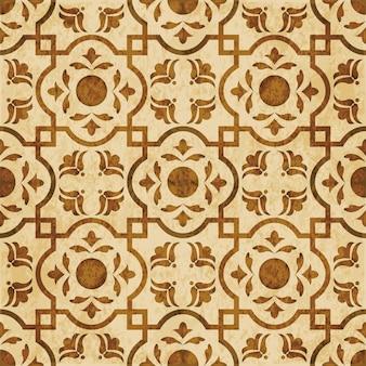 茶色の水彩テクスチャ、シームレスなパターン、正方形のクロスジオメトリの花