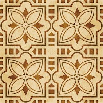 茶色の水彩テクスチャ、シームレスなパターン、正方形のクロススターの花