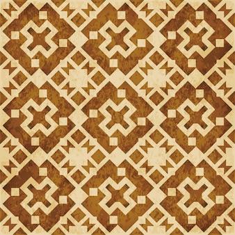 茶色の水彩テクスチャ、シームレスなパターン、正方形のジオメトリクロス万華鏡