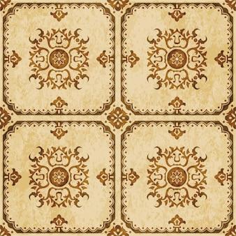 茶色の水彩テクスチャ、シームレスなパターン、正方形のポリゴンフレームスパイラルフラワー