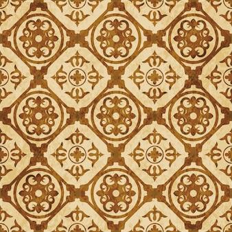 茶色の水彩テクスチャ、シームレスなパターン、正方形の丸いジオメトリ