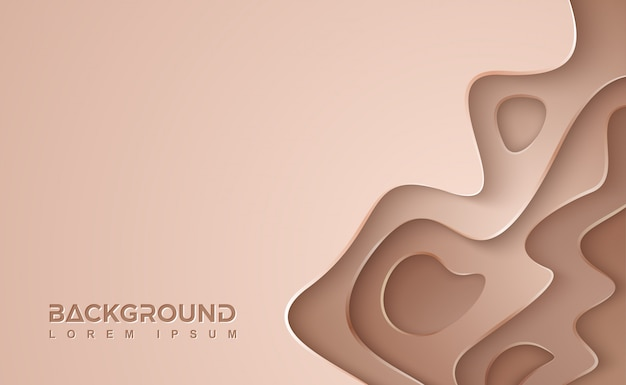 Brown wavy vector background. brown paper cut background with 3d style.