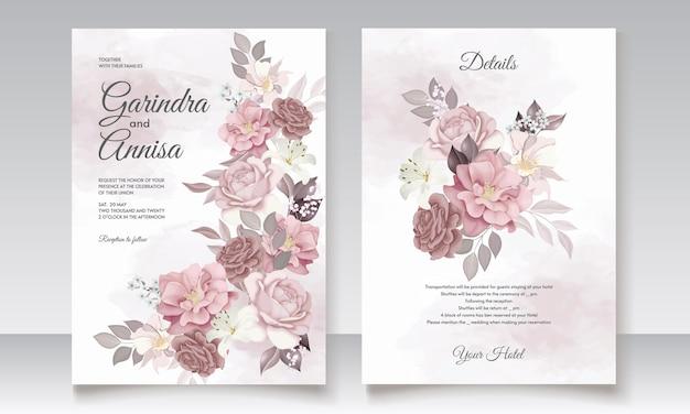 Коричневый шаблон свадебного приглашения с цветочной рамкой