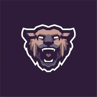 갈색 야생 곰 마스코트 로고