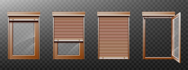 Brown window with roller shutter up and close set