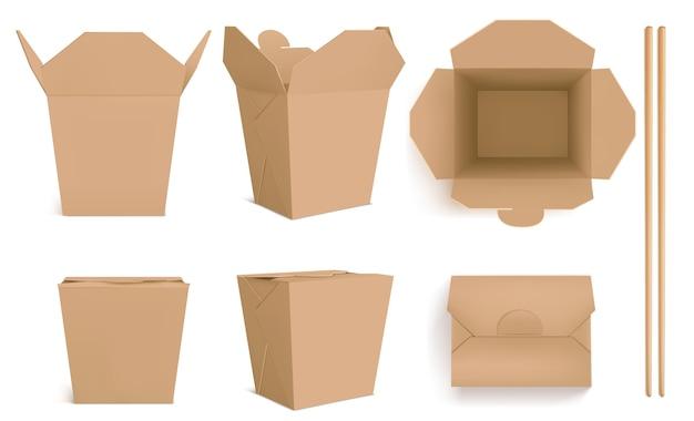 ブラウンウォックボックスと箸、中華料理、麺、米用のクラフト紙包装。正面図と上面図の閉じたテイクアウトボックスと開いたテイクアウトボックス、竹の棒のリアル