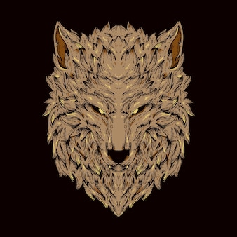 Brown wolf illustration