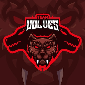 Brown wolf mascot gaming logo template for esports streamer facebook youtube