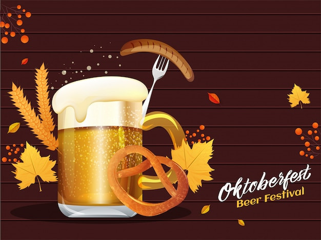 Brown wooden background decorated with wine glass, sausage fork, pretzel, wheat and autumn leaves for oktoberfest beer festival banner or poster design.