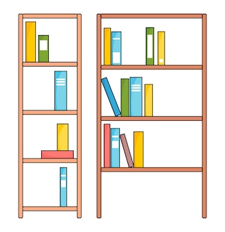 Brown wooden bookcase with various books. education or bookstore concept