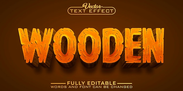 Brown wooden editable text effect template
