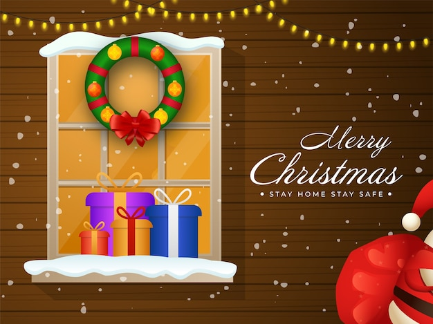 Brown wooden snowfall background with lighting garland