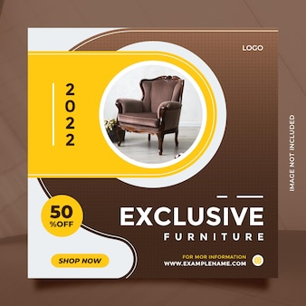 Brown yellow exclusive furniture sale design template for social media post and banner promotion