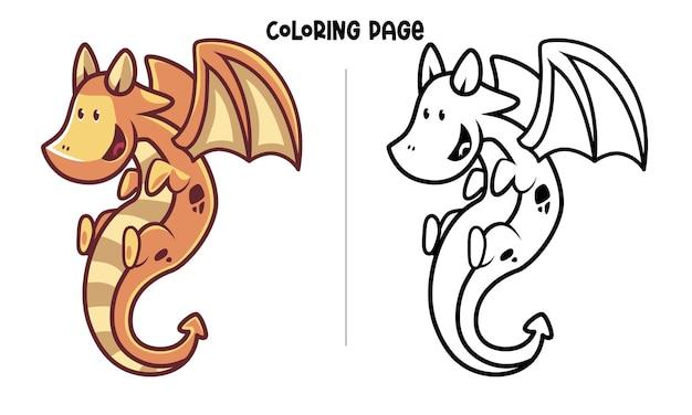 Коричнево-желтый летающий дракон. раскраска для печати и книжка-раскраска