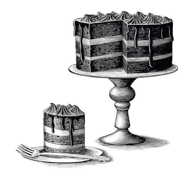 Брауни торт рисованной старинные гравюры стиль черно-белые картинки, изолированные на белом фоне