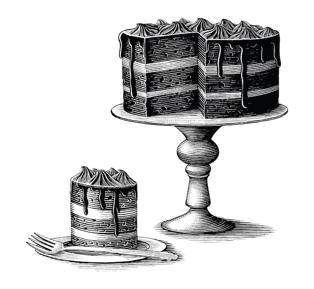 Brownie cake hand drawn vintage engraving style black and white clip art isolated on white background