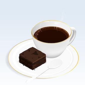 ブラウニーチョコレートケーキとコーヒー
