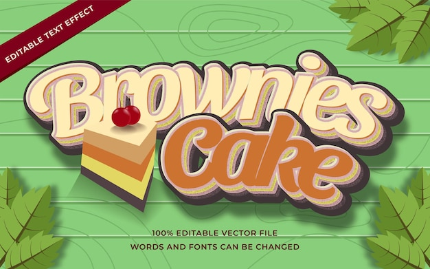 Brownies cake text effect editable for illustrator
