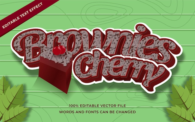 Brownies cherry text effect editable for illustrator