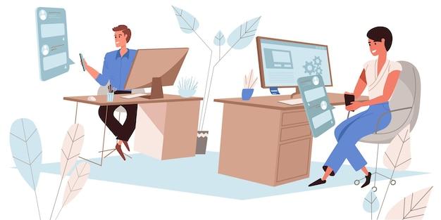 Просмотрите концепцию социальной сети в плоском дизайне. сотрудники пользуются смартфонами, смотрят фотографии друзей, лайки и комментарии, откладывают дела в офисе. сцена людей онлайн-общения. векторная иллюстрация