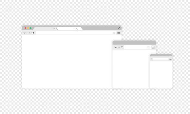 브라우저 아이콘 ser. 웹사이트 창입니다. 격리 된 투명 한 배경에 벡터입니다. eps 10.
