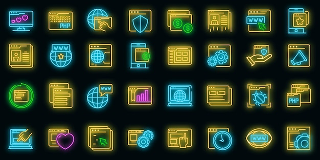 Browser icons set. outline set of browser vector icons neon color on black