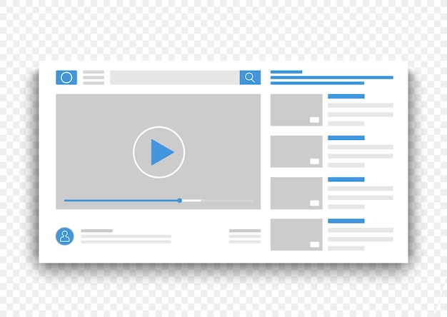 Browser video player interface window. online movie on web site concept  illustration
