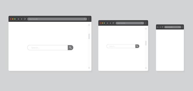 회색 배경에 격리된 브라우저 창 컴퓨터 태블릿 및 스마트폰용 브라우저 모형