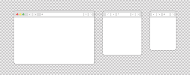 Browser window isolated vector web elements