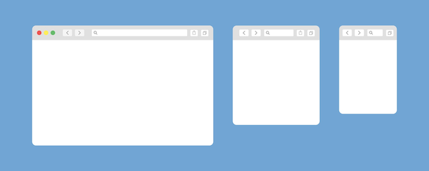 Browser window isolated vector web elements.