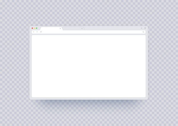 Browser window mockup, abstract screen template with blank place. internet page ui with toolbar and search line in modern style isolated.