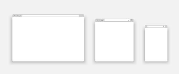 Pc, 태블릿 및 휴대폰의 브라우저 창.