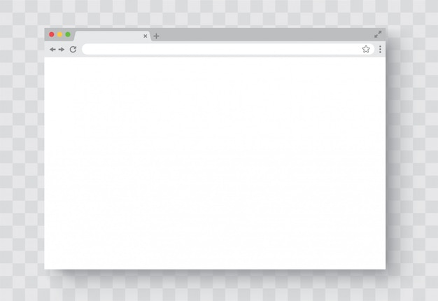 Browser window. realistic blank browser window with shadow. empty web page