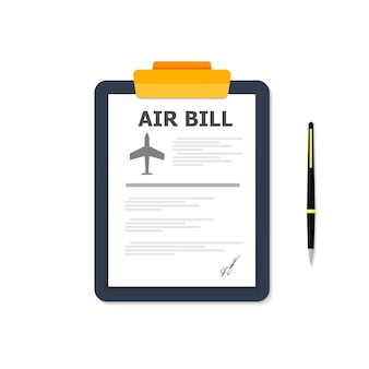 Browser window with air bill on tablet on white.