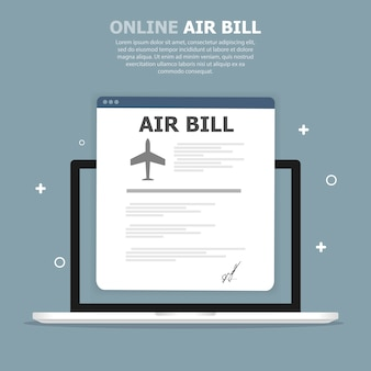 Browser window with air bill on tablet
