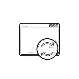 다시 시작 버튼 손으로 그린 개요 낙서 아이콘이 있는 브라우저 창. 웹 페이지 새로 고침, 브라우저 새로 고침 개념입니다. 인쇄, 웹, 모바일 및 흰색 배경에 인포 그래픽에 대한 벡터 스케치 그림.