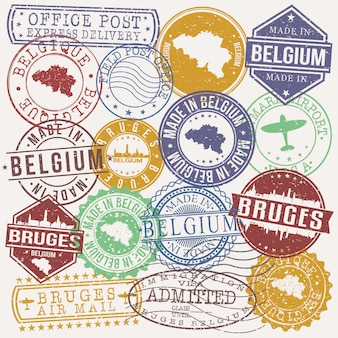 Bruges belgium set of travel and business stamps