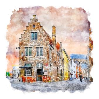 Брюгге бельгия акварельный эскиз рисованной иллюстрации