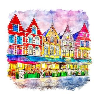 Brugge belgium watercolor sketch hand drawn
