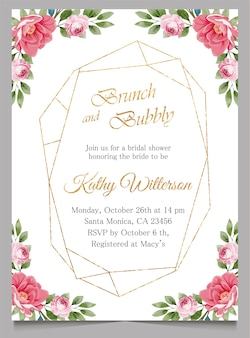 Brunch and bubbly invitation with floral, bridal shower invite card