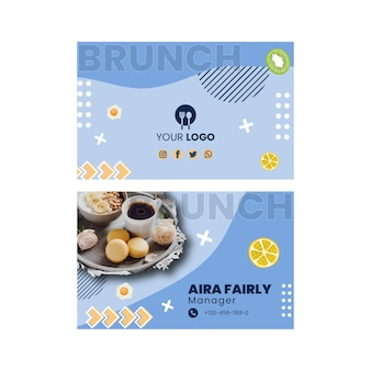 Brunch business card template with photo