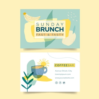 Brunch double-sided horizontal business card template