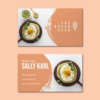 Двухсторонняя горизонтальная визитка для бранча