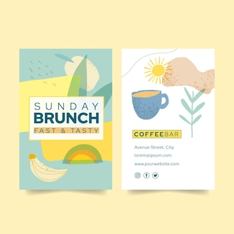 Brunch double-sided vertical business card template