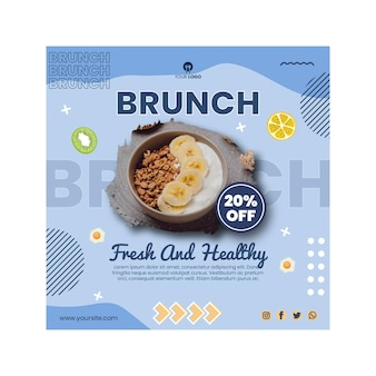 Brunch flyer template with photo