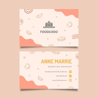 Brunch horizontal double-sided business card template